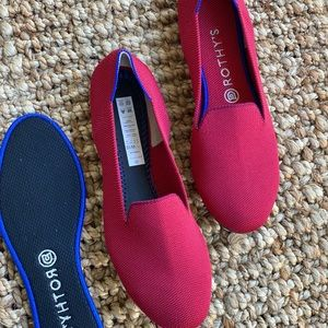 Rothys red loafers